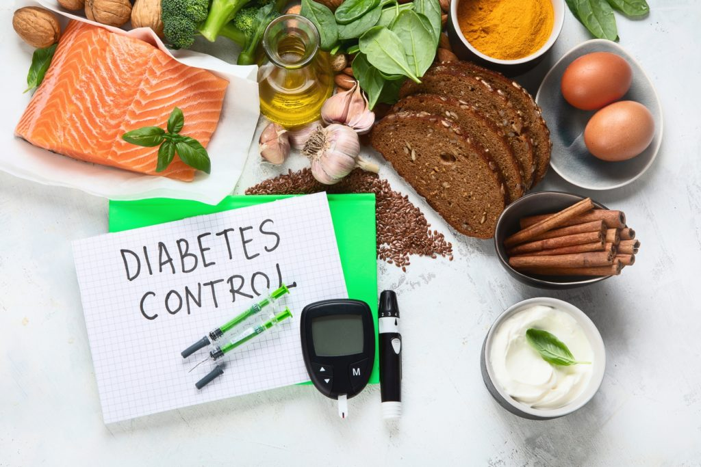 Healthy foods  for Diabetes diet. Cholesterol diet, food high in antioxidants, vitamins and minerals.