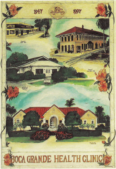 Boca Grande Health Clinic 50th Anniversary: 1947-1997 - painting of the Clinic, the railroad Depot, Fugate's
