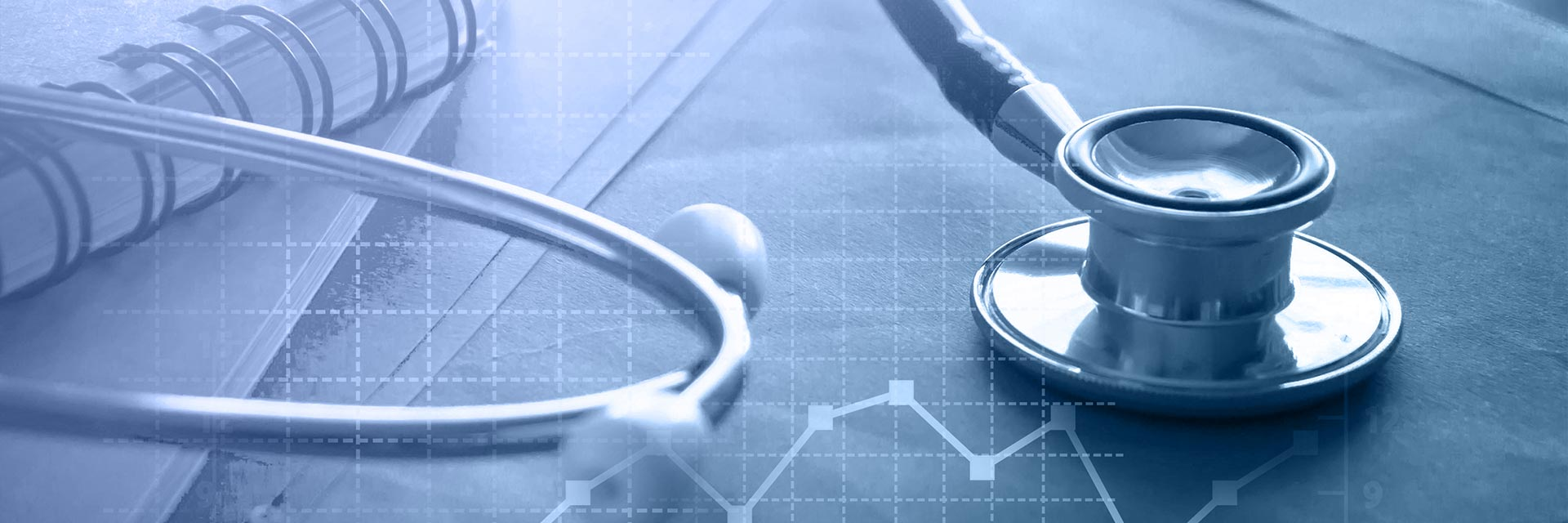 stethoscope and healthcare business graphic composite