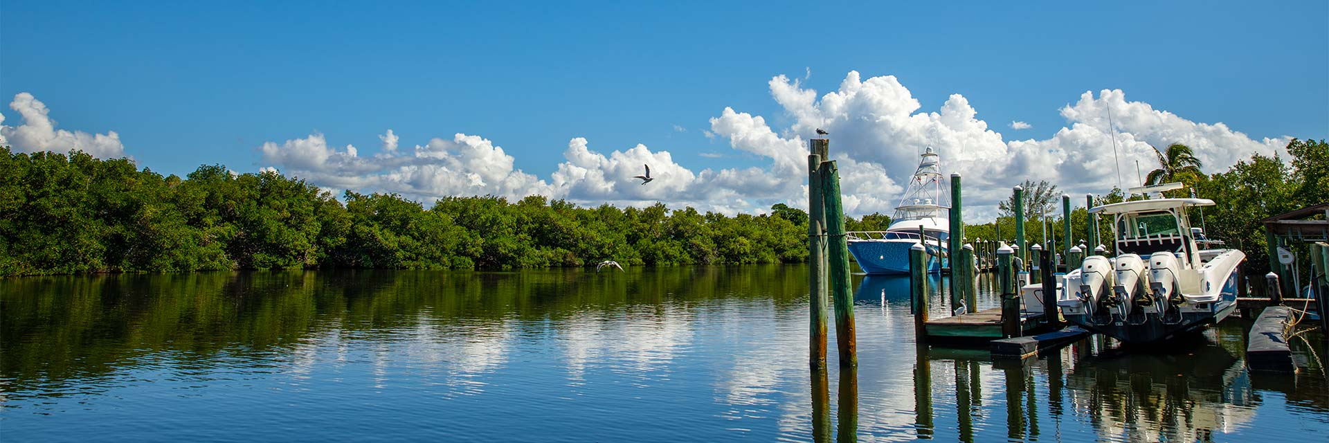 Yachts in canal in Boca Grande, Florida